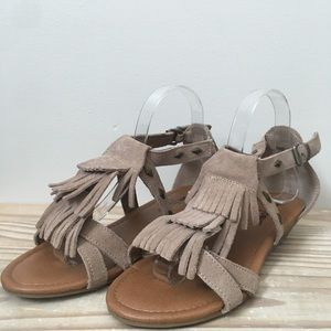 Minnetonka Leather Fringe Studded Sandals